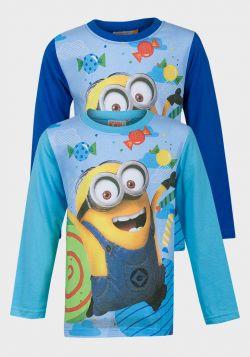 Minions Boys Long Sleeve Cotton T-Shirt (4y-10y) - 12 pack
