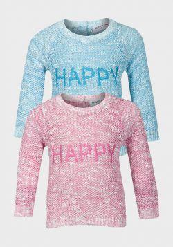 Minoti Girls Slogan Knitted Jumper (6/12m-2/3y) - 8 pack
